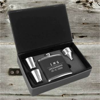 Personalized Black And  Silver Groomsmen  Flask Gift set