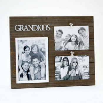 TRIPLE WOOD GRANDKIDS PICTURE FRAME