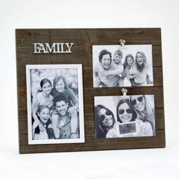TRIPLE WOOD FAMILY PHOTO FRAME