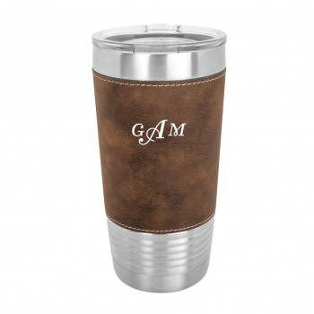 Rustic Silver Leatherette Polar Camel Tumbler with Clear Lid