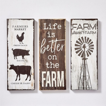 SET OF 3 CANVAS DECOR FARM WALL HANGING DESIGNS