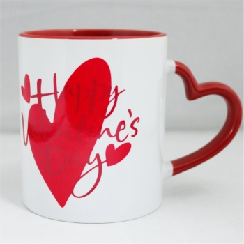 Personalized Valentine's Day Heart Handle Ceramic Mug