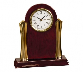 Rosewood Piano Finish Clock-Gold Columns