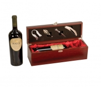 Rosewood Finish Single Wine Gift Box with Accessories