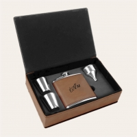 Dark Brown Leatherette Flask Gift Set
