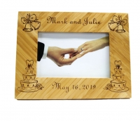 Cake and Wedding Bells Bamboo Picture Frame
