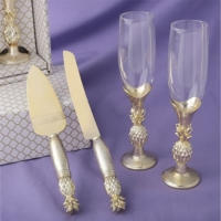 Pineapple Themed Gold Champagne Flutes set