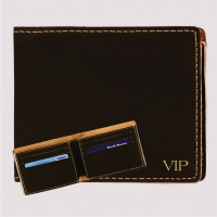Black Leatherette Men's Bi-fold Wallet