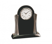 Black Piano Finish Clock Silver Columns