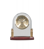 Arch Glass Piano Finish Desk Clock